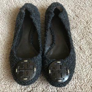 TORY BURCH | Gray Wool Reva Ballet Flats Chic 7.5